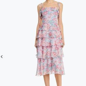 WAYF Essie Floral Tiered Midi Dress Medium
